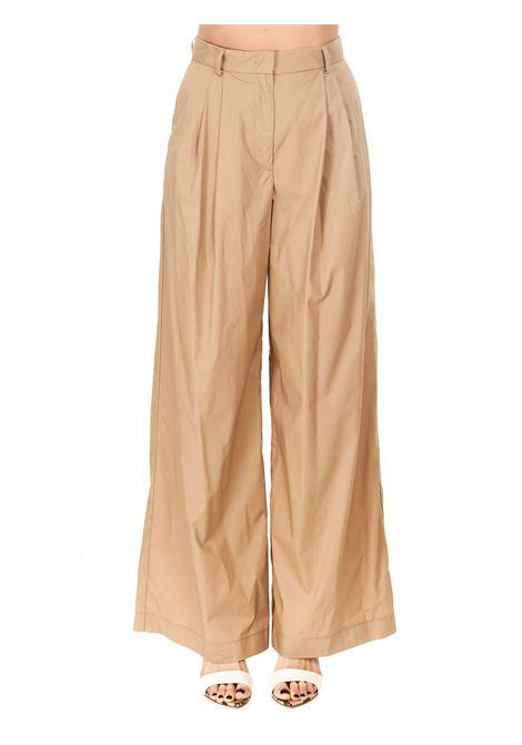 HIGH WAIST BEIGE COTTON PANTS Nude | Pants | 110351320