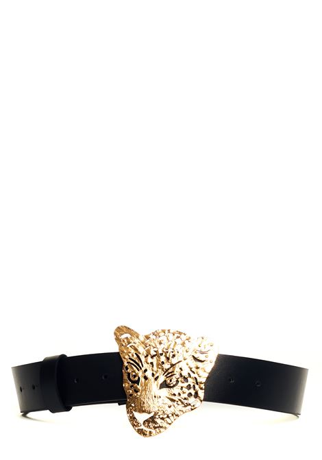 BLACK LEATHER BELT WITH LEOPARD BUCKLE Nude | Belts | 110450309