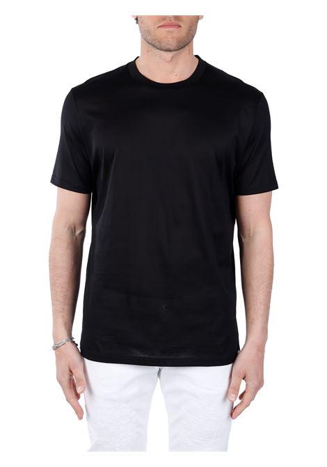 BLACK COTTON T-SHIRT PAOLO PECORA      F07140549000