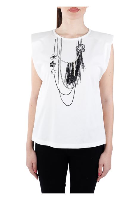 MISTICO T-SHIRT WITH PRINT AND PEARLS IN JERSEY PINKO |  | MISTICO1G15XTY73YZ14