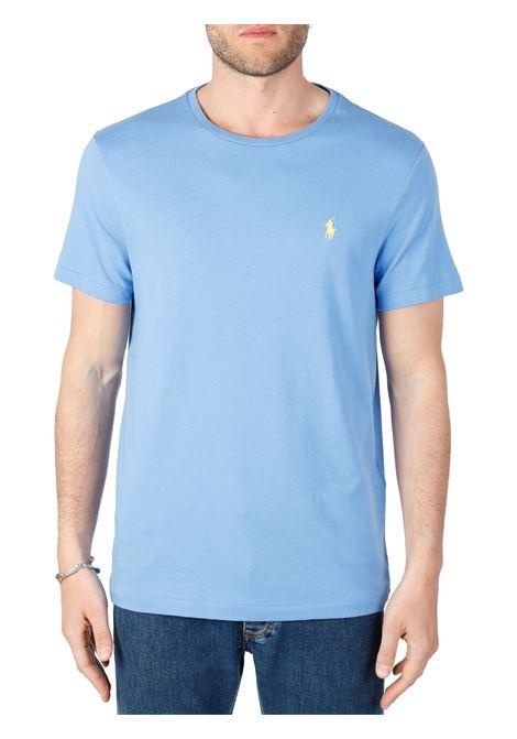 T-SHIRT CELESTE  IN COTONE CON RICAMO LOGO FRONTALE POLO RALPH LAUREN | T-shirt | 710671438057