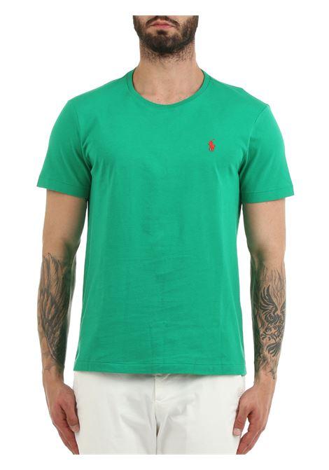 T-SHIRT VERDE  IN COTONE CON RICAMO LOGO FRONTALE POLO RALPH LAUREN | T-shirt | 710671438208