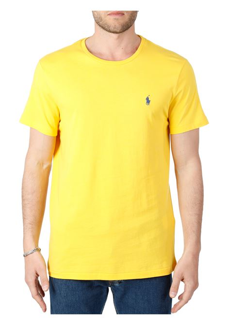 T-SHIRT GIALLO  IN COTONE CON RICAMO LOGO FRONTALE POLO RALPH LAUREN | T-shirt | 710671438209