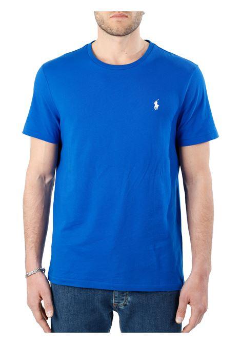 T-SHIRT BLU  IN COTONE CON RICAMO LOGO FRONTALE POLO RALPH LAUREN | T-shirt | 710671438210