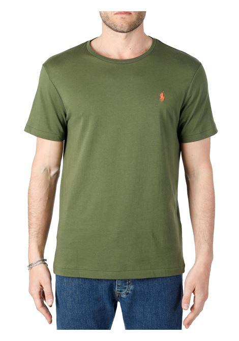 T-SHIRT VERDE  IN COTONE CON RICAMO LOGO FRONTALE POLO RALPH LAUREN | T-shirt | 710671438212