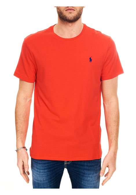 RED COTTON T-SHIRT WITH FRONT LOGO EMBROIDERY POLO RALPH LAUREN | T-shirt | 710671438213