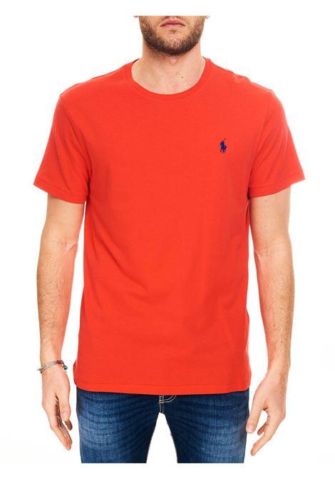 T-SHIRT ROSSA IN COTONE CON RICAMO LOGO FRONTALE POLO RALPH LAUREN | T-shirt | 710671438213