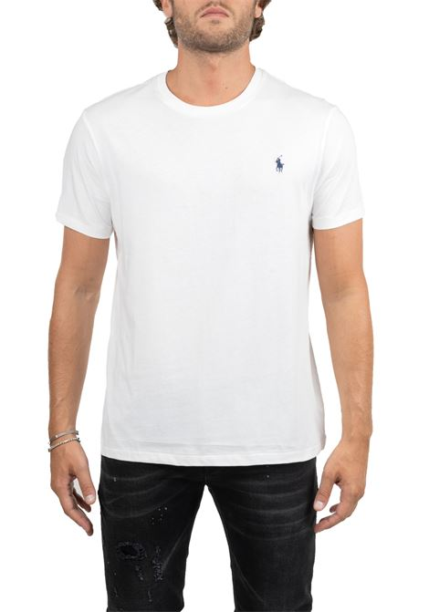 WHITE COTTON T-SHIRT WITH CONTRASTED LOGO EMBROIDERY POLO RALPH LAUREN | T-shirt | 710680785003