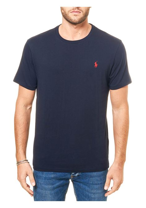 BLUE COTTON T-SHIRT WITH FRONT LOGO EMBROIDERY POLO RALPH LAUREN | T-shirt | 710680785004