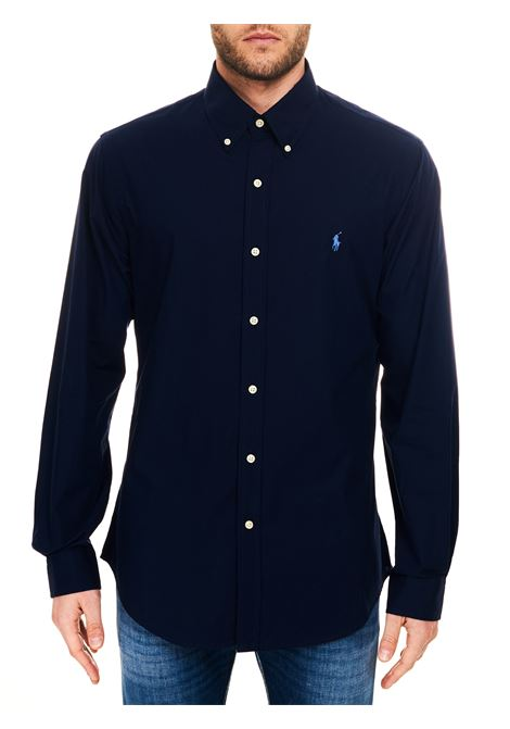 BLUE COTTON SHIRT WITH FRONT LOGO EMBROIDERY POLO RALPH LAUREN | Shirts | 710705269006