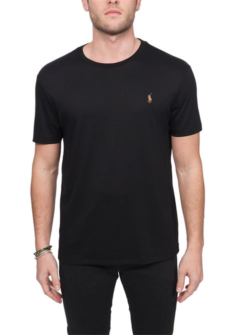 BLACK COTTON T-SHIRT WITH FRONT LOGO EMBROIDERY POLO RALPH LAUREN |  | 710740727001