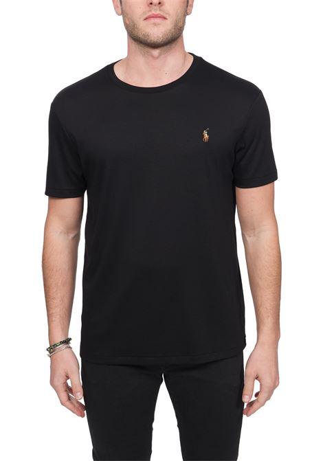 T-SHIRT NERA IN COTONE CON RICAMO LOGO FRONTALE POLO RALPH LAUREN | T-shirt | 710740727001