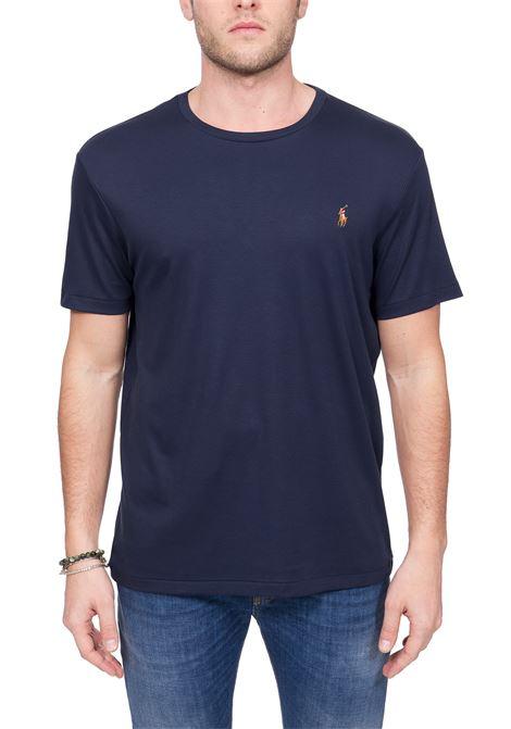 T-SHIRT BLU IN COTONE CON RICAMO LOGO FRONTALE POLO RALPH LAUREN | T-shirt | 710740727003