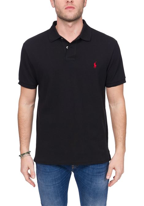 BLACK COTTON POLO WITH FRONT LOGO EMBROIDERY POLO RALPH LAUREN | Polo Shirts | 710795080006