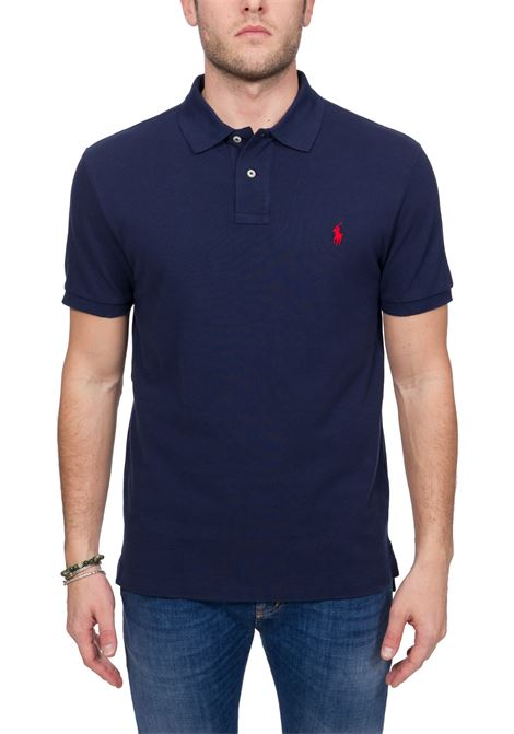 BLUE COTTON POLO WITH FRONT LOGO EMBROIDERY POLO RALPH LAUREN | Polo Shirts | 710795080007