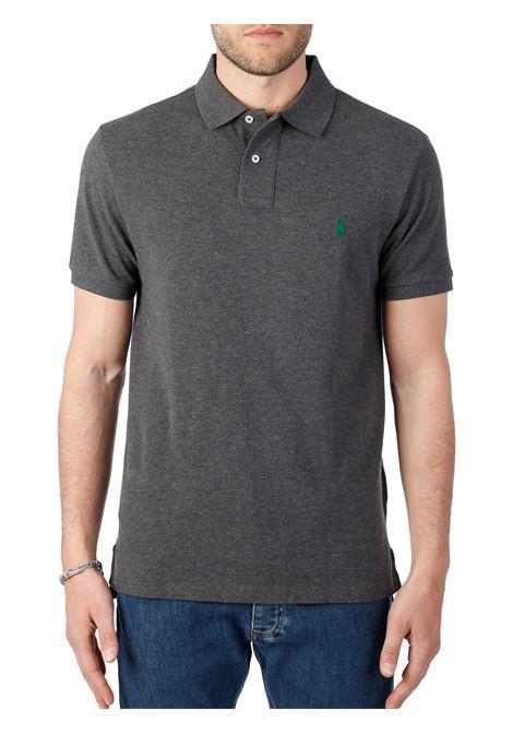 GREY COTTON POLO WITH FRONT LOGO EMBROIDERY POLO RALPH LAUREN | Polo shirt | 710795080008