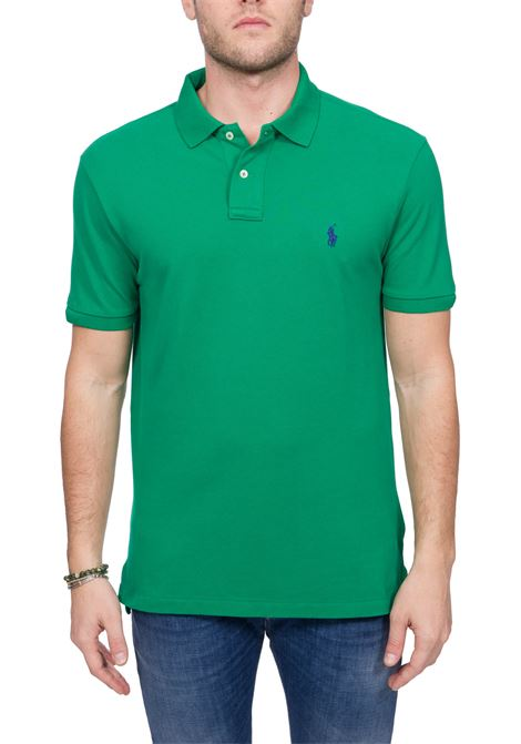 GREEN COTTON POLO WITH FRONT LOGO EMBROIDERY POLO RALPH LAUREN | Polo Shirts | 710795080019