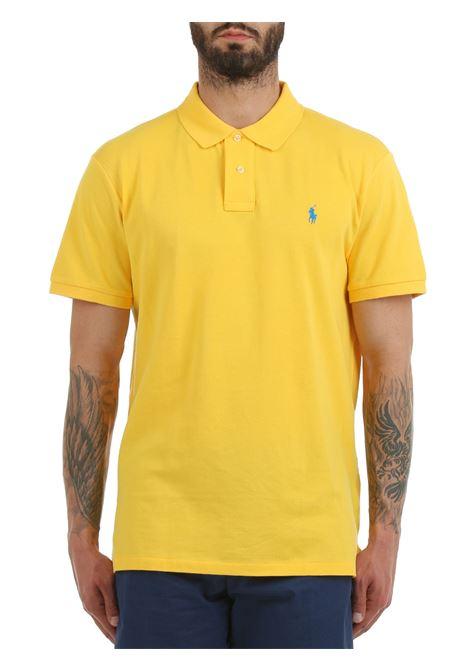 YELLOW COTTON POLO WITH FRONT MINI LOGO EMBROIDERY POLO RALPH LAUREN   Polo shirt   710795080022