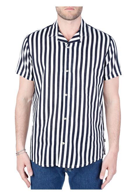 BLUE STRIPED SHIRT IN LINEN BLEND TAILORED | Shirts | 21201955194020
