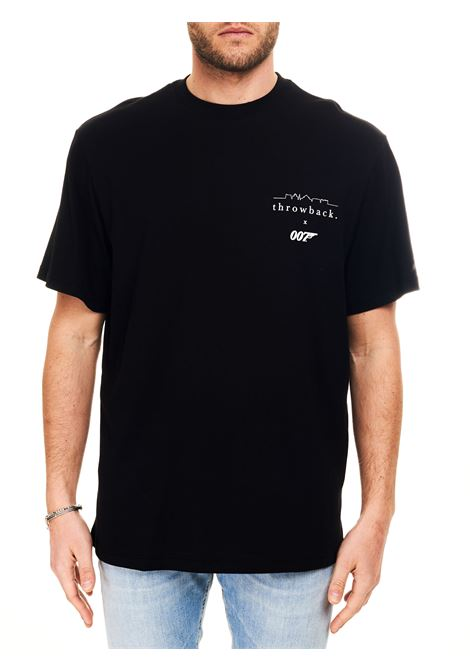 T-SHIRT NERA CON STAMPA LOGO FRONTALE THROWBACK | T-shirt | TBT007LOGOBLACK