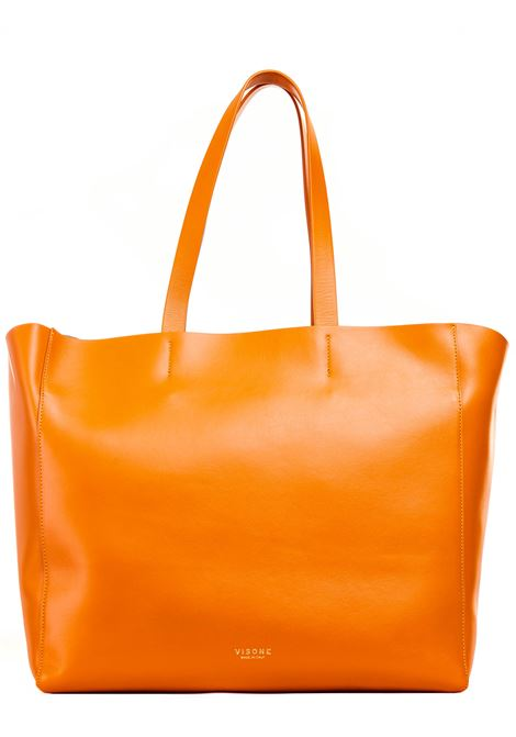 ORANGE LEATHER SHOPPING BAG AMANDA MODEL VISONE |  | AMANDALEATHERBIGARANCIO