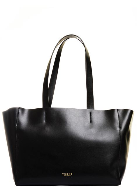 BLACK LEATHER SHOPPING BAG AMANDA MODEL VISONE |  | AMANDALEATHERSMALLNERO