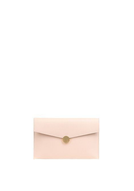 CLUTCH WITH EMBOSSED LEATHER TEXTURE VISONE |  | PATTYLEATHERWITHRELIEFBIGROSA