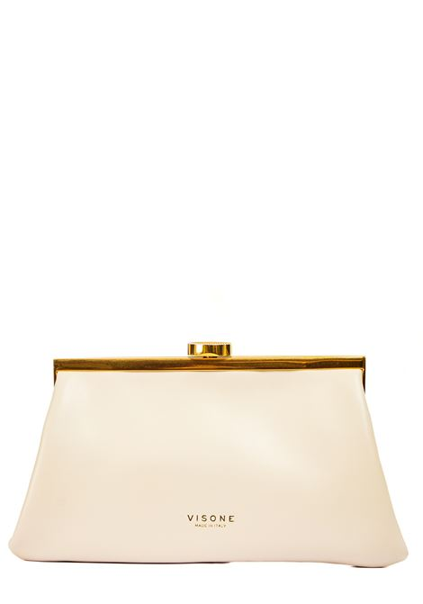 WHITE LEATHER CLUTCH VISONE |  | ROSSYLEATHERHANDBIANCO