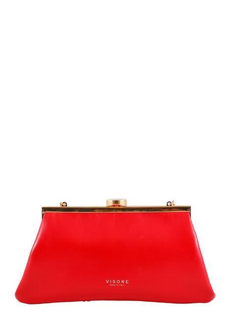RED LEATHER CLUTCH VISONE |  | ROSSYLEATHERHANDROSSO