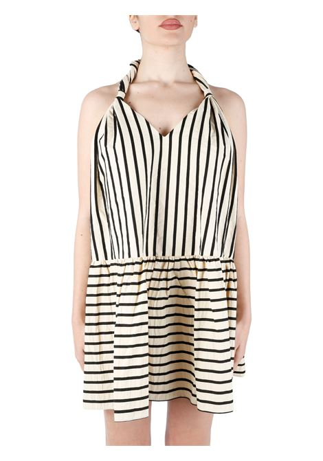 STRIPED MINI DRESS IN COTTON BLEND weili zheng | Clothes | SWZDC85N51