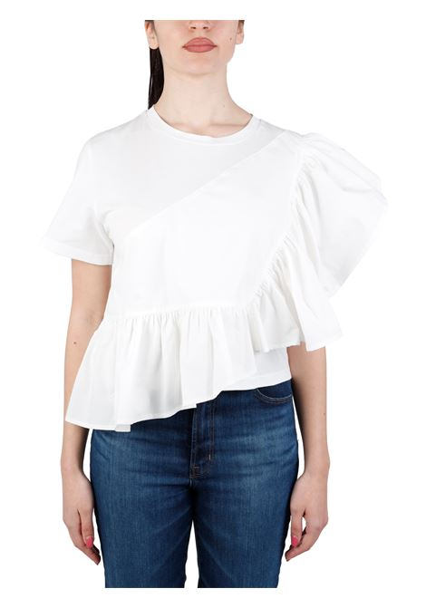 T-SHIRT ASIMMETRICA IN POPELINE DI COTONE weili zheng | T-shirt | SWZTM24W01