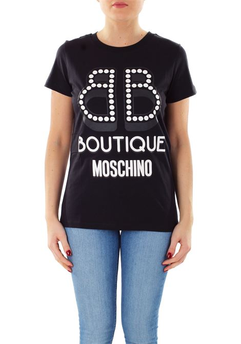 T-SHIRT NERA IN COTONE BOUTIQUE MOSCHINO | T-shirt | A120611401555