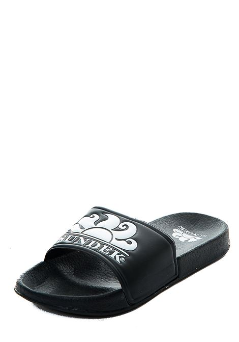 BLACK RUBBER SLIPPERS WITH FRONT LOGO PRINT SUNDEK | Slide Sandals | AM338ASPV100004