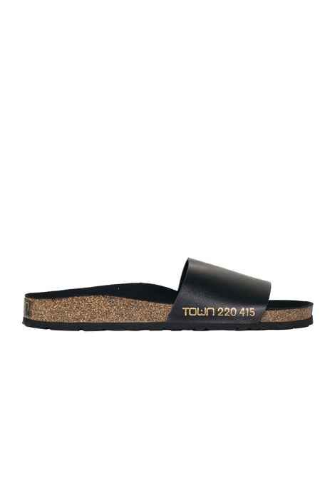 LEATHER AND CORK SLIPPER TOWN | Slide Sandals | MALECON171TWCYSAFFIANOBLACK