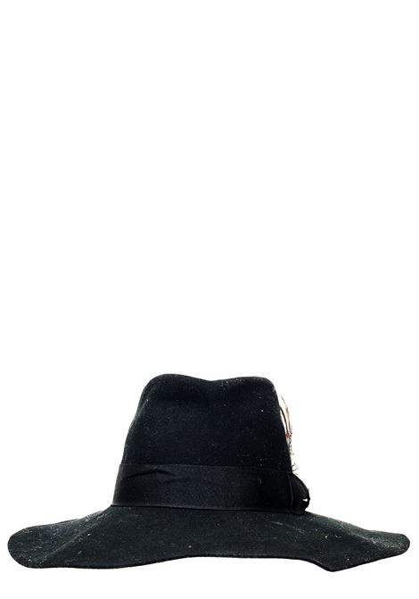 BLACK WOOL HAT WITH FEATHER DETAIL CYCLE | Hats | WCP085W599999