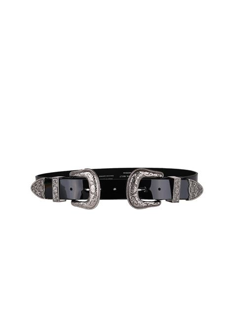 CINTURA IN PELLE B-LOW THE BELT | Cinture | BT1805BRIBRIPATENTBLACK/SILVER
