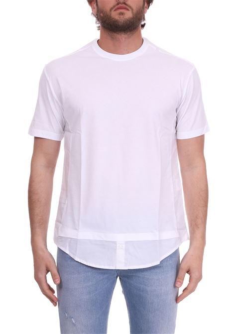T-SHIRT IN COTONE CON FONDO CAMICIA PAOLO PECORA | T-shirt | F34163211101