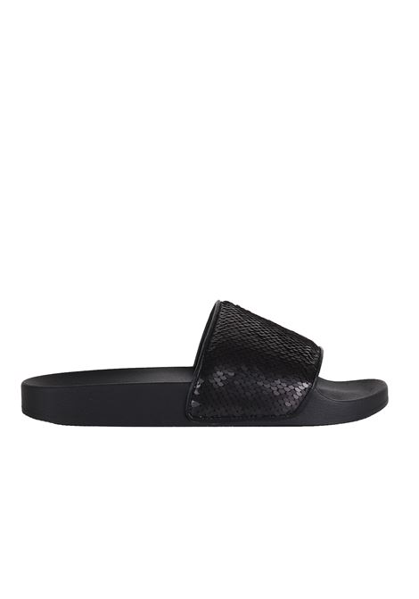 RUBBER SLIPPERS STEVE MADDEN | Slide Sandals | SMSSOFTEYSBLACK