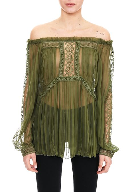 GREEN SILK CHIFFON BLOUSE WITH LACE  ALBERTA FERRETTI | Blouse | 02171614439