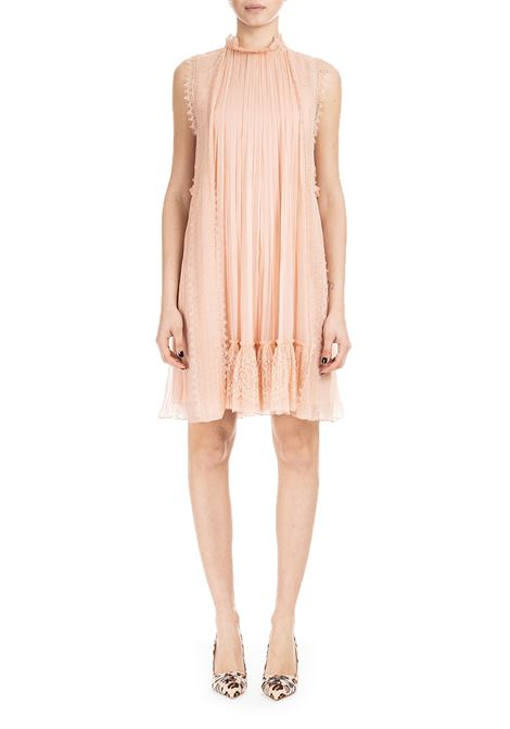 PINK SHORT CHIFFON DRESS WITH LACE ALBERTA FERRETTI | Dress | 0422115169