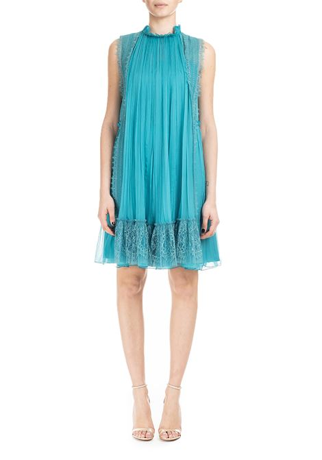 TURQUOISE SHORT CHIFFON DRESS WITH LACE ALBERTA FERRETTI | Dress | 0422115370