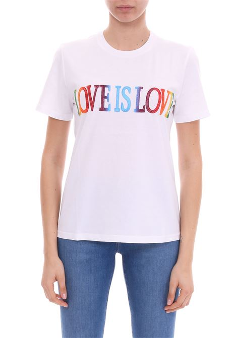 T-SHIRT 'LOVE IS LOVE' BIANCA IN JERSEY DI COTONE ALBERTA FERRETTI | T-shirt | 07040172J0001