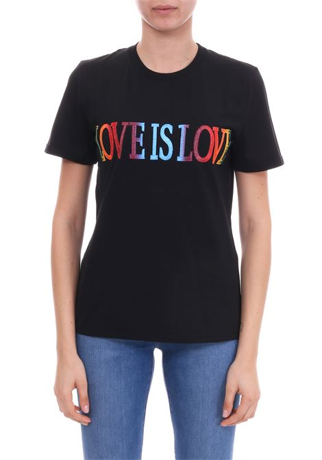T-SHIRT 'LOVE IS LOVE' NERA IN JERSEY DI COTONE ALBERTA FERRETTI | T-shirt | 07040172J0555