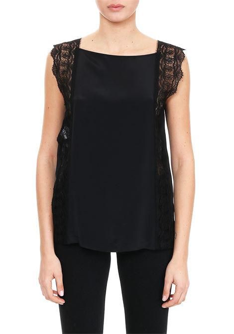 BLACK SLEEVELESS TOP WITH LACE INSERTS ALBERTA FERRETTI | Tops | 08051616555