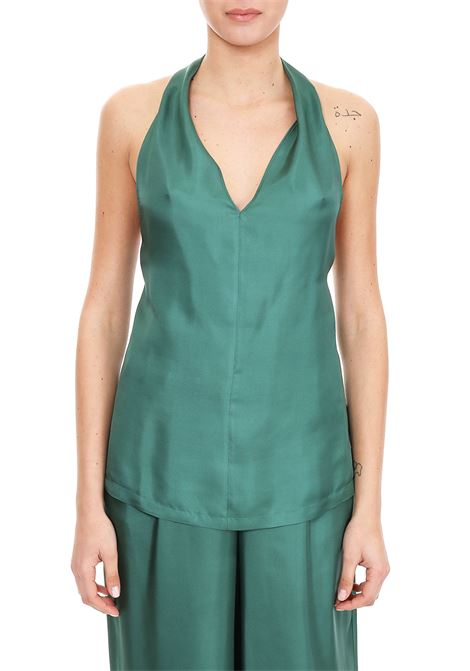 GREEN LOW-CUT TOP IN SILK TWILL ALYSI | Tops | 109278P9244VERDE