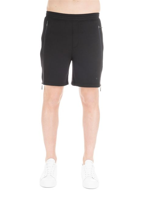 BLACK SHORTS WITH ZIP AND CONTRAST LETTERING BLACKBARRETT | Shorts | XJP834/524NERO