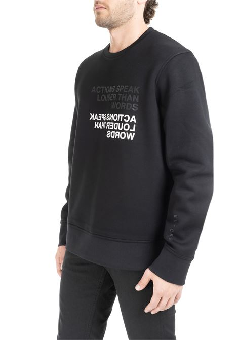 BLACK RAYON SWEATSHIRT WITH FRONT LETTERING BLACKBARRETT | Sweatshirts | XJS824NERO