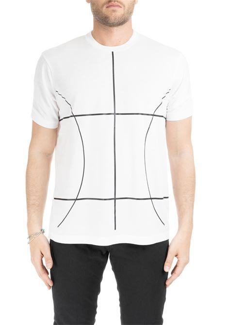 T-SHIRT BIANCA CON LINEE GEOMETRICHE A CONTRASTO BLACKBARRETT | T-shirt | XJT217BIANCO