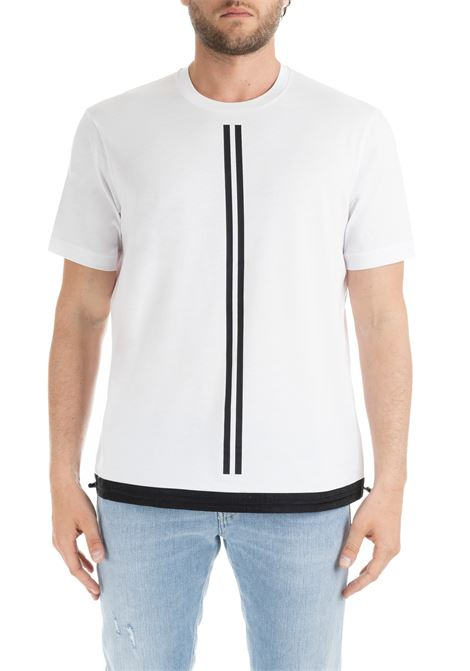 COTTON T-SHIRT WITH CONTRASTED PARALLEL LINES BLACKBARRETT | T-shirt | XJT227BIANCO