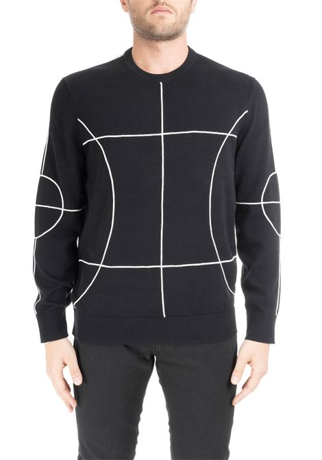 BLACK SWEATER WITH CONTRASTED GEOMETRIC LINES BLACKBARRETT | Sweaters | XMA306NERO